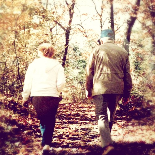 Joan and John McCulloch walking in Midland, Michigan. A fan of the outdoors, John retired in the mid-1980s, spending most of the year fishing off British Columbia's west coast.